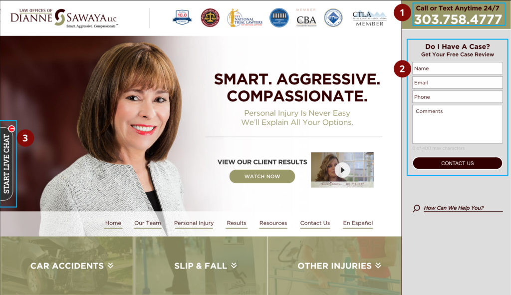 A demonstration of all the conversion elements on a personal injury attorney's website as accessed from a desktop computer.